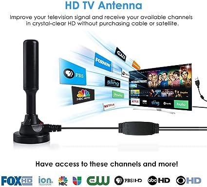 htfrgeds Antena de TV HD, Antena HD, antena digital HDTV para ...