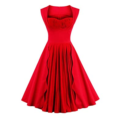Summer Dress Women Red Solid Color Sleeveless Plus Size Vintage Dress Party Rockabilly Dress Feminino Swing