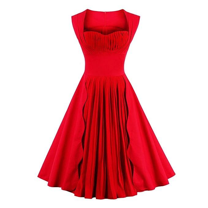 Las mujeres vestido de verano sin mangas Color sólido rojo Vintage Plus Size vestidos vestido Rockabilly