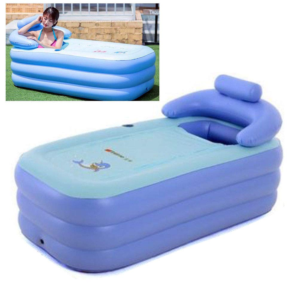 Portable Folding Inflatable Bathtub Adult Spa Pool Suitable for Children Kid,Baby,Senior Citizen Shower Inflatable Pool Bathroom Home SPA (Blue)