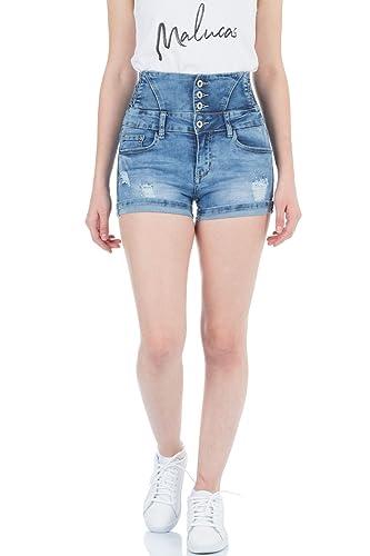 Malucas Damen Jeans Hose Hotpants Hochbund Shorts Bermuda