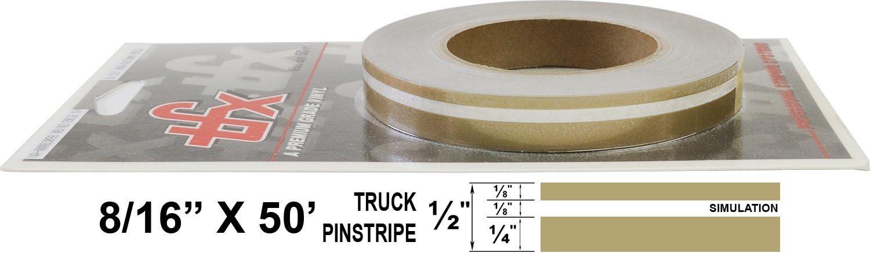 "1//4/"" Stripe, 1//8 Gap, Then 1//8/"" Stripe Universal TFX 00083061 - 061-Black Auto Customizing Dual Pinstripe 8//16 x 50"
