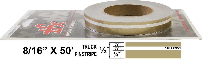 "Universal TFX 00083098 - Auto Customizing Dual Pinstripe - 8/16' x 50' (1/4"" Stripe, 1/8' Gap, then 1/8"" Stripe) - 098-Autumn Gold Metallic 1/8 Gap Universal Products"