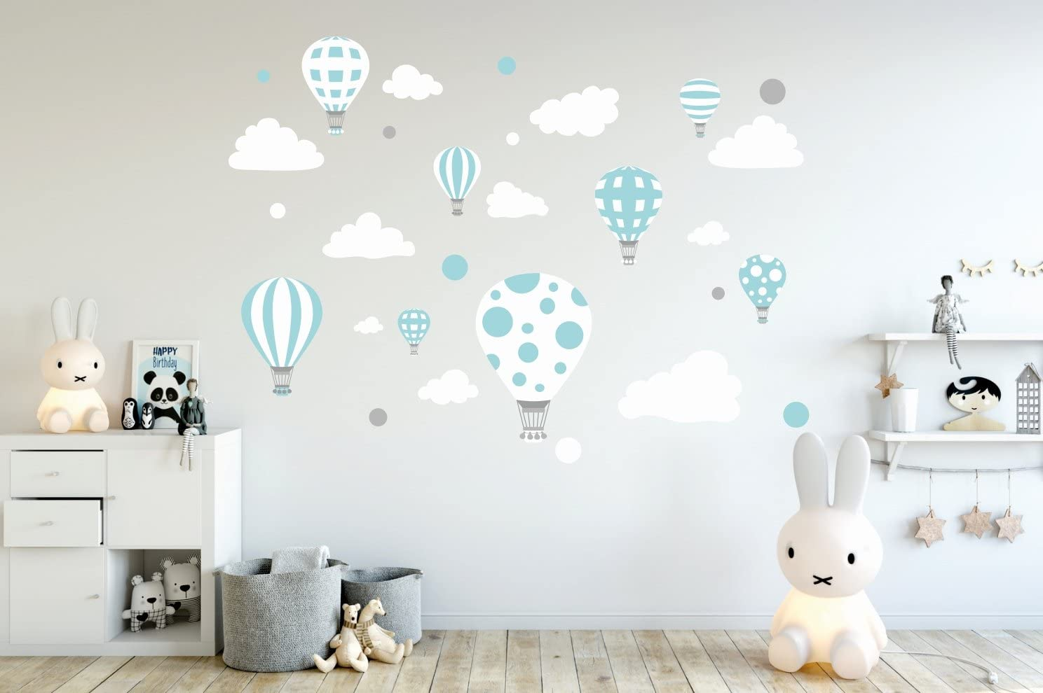 madras24 Etiqueta de la Pared Pegatinas de Pared Pegatinas para niños Globo Globos Nubes Nube Habitación para niños salón jardín de la Infancia Escuela decoración Sala de Estar (B3 XL)