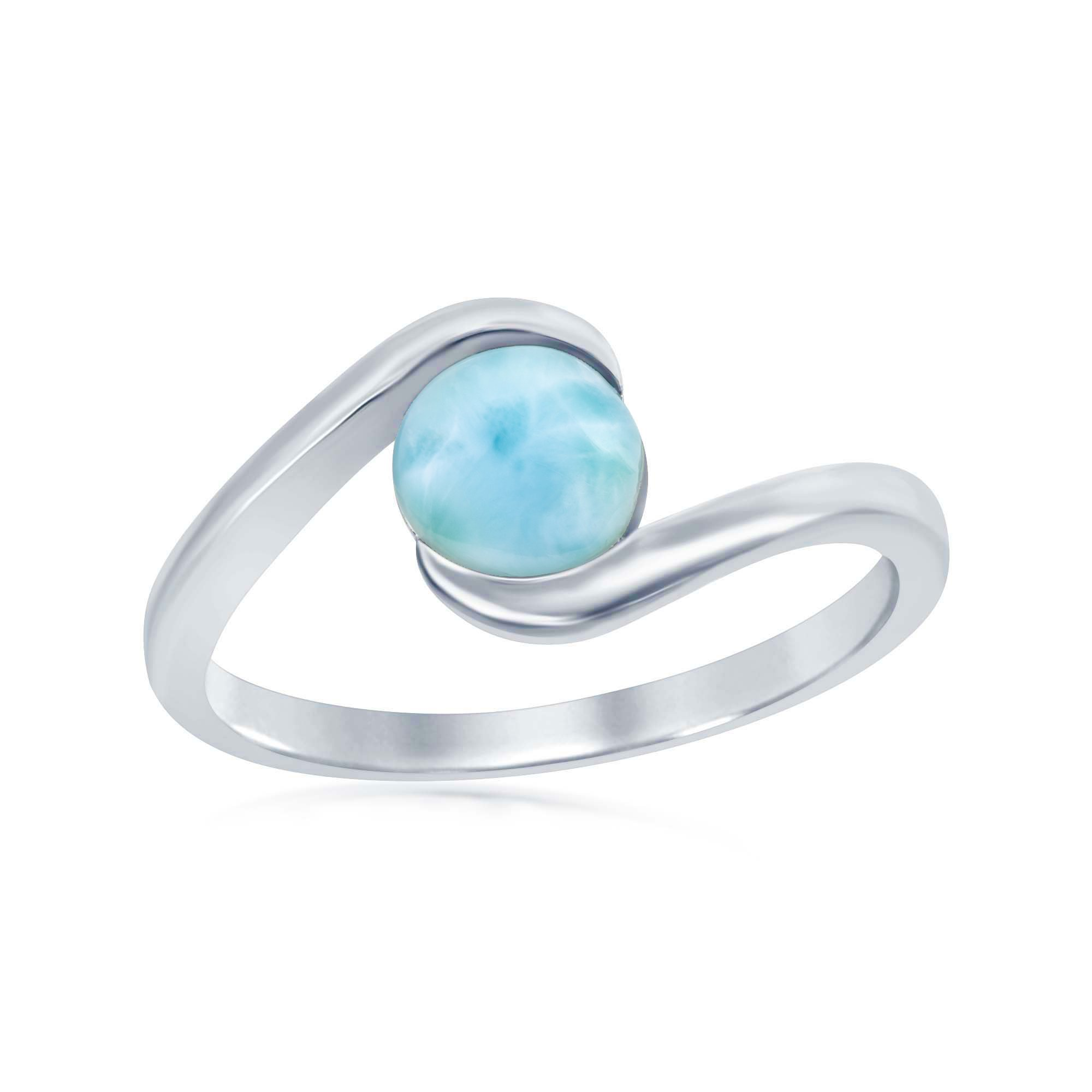 Beaux Bijoux Sterling Silver Natural Round Larimar Stone Swirl Design Ring