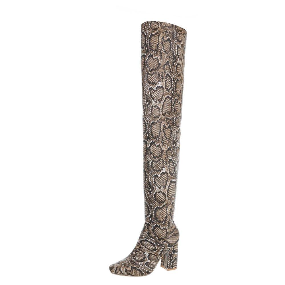 Ital-Design Overknees Damenschuhe Overknees Pump High Heels Reißverschluss Stiefel  40 EU Beige Multi JR-011