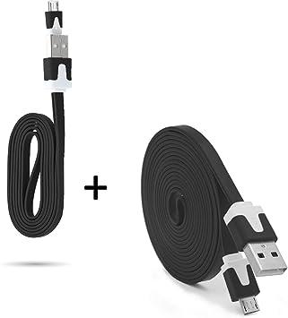 Pack Cargador para Mando Xbox One Smartphone Micro USB Cable Noodle 3M + Cable Noodle 1M Android (Negro): Amazon.es: Electrónica