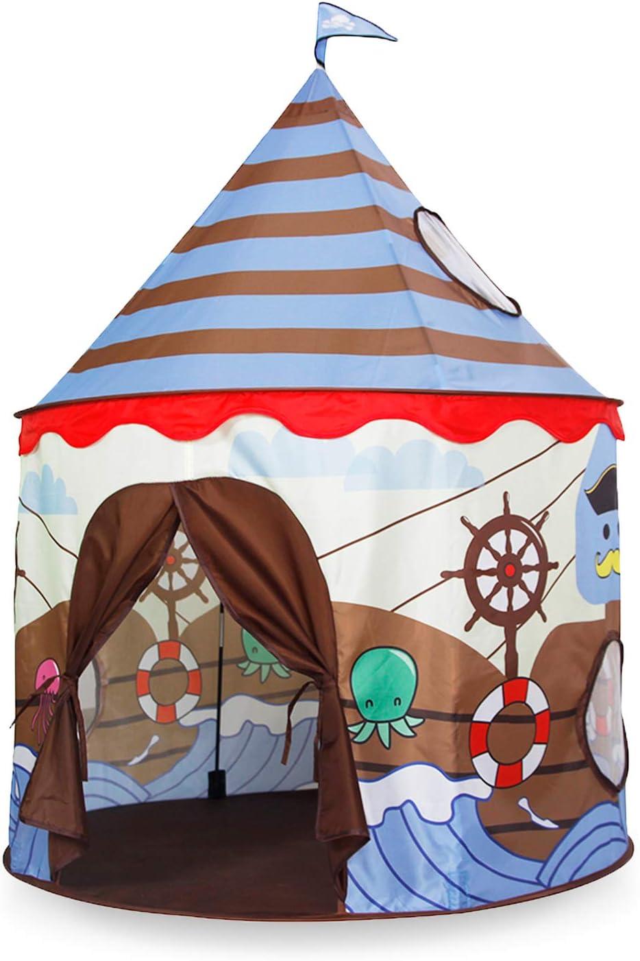 Homfu Tienda del Juego Tienda de Campaña para Niños Castillo Juego en casa para Chicos Plegable autoarmable (Brown)