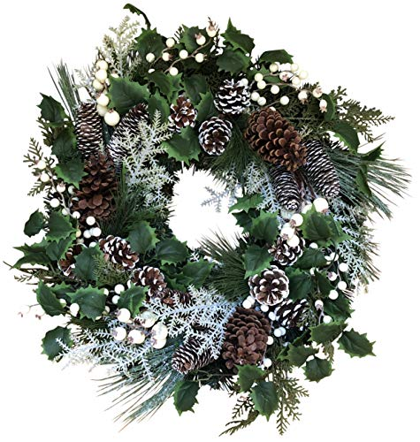 The Wreath Depot Moravia Winter Wreath, 22 Inches, Beautiful and Full Winter Front Door Wreath, White Gift Box Included