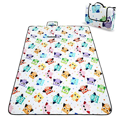 RoryTory Owl Bird Design Foldable Outdoor Fleece Waterproof Picnic Blanket Mat