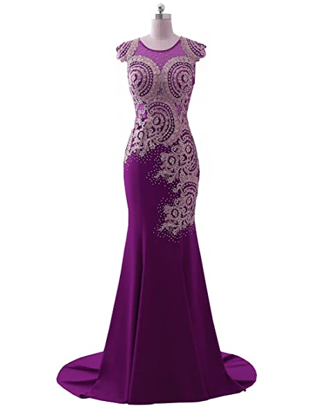 Erosebridal Womens Long Evening Dresses Embellished Mermaid Prom Party Gowns Purple US10