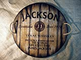 Rustic Wood Personalized Serving Tray - Custom serving dish inspired by whiskey barrel tops | Personalized Gifts | Rustic tableware | Christmas Gift