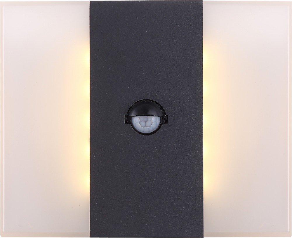 Dekorative LED Außenleuchte Aluminium dunkelgrau Druckguss Kunststoff opal 11,6W - Globo MOONLIGHT 34167S