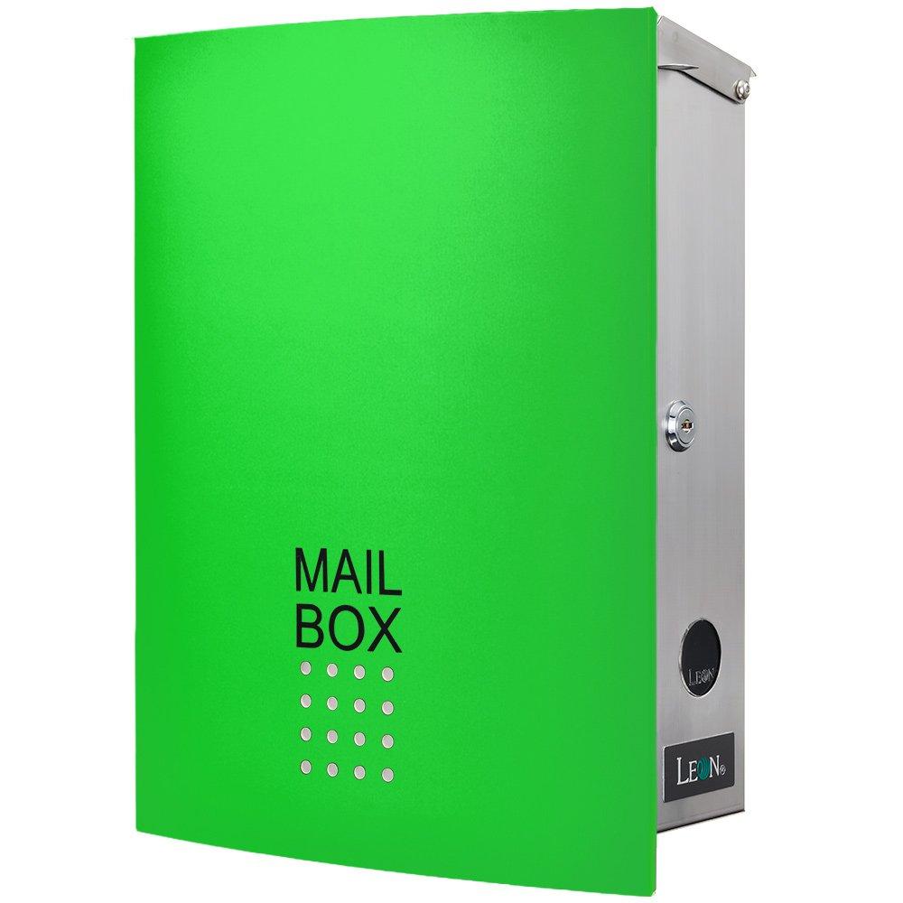 LEON (レオン) MB4504ネオ 郵便ポスト 壁掛けタイプ ステンレス製 鍵付き おしゃれ 大型 ポスト 郵便受け (マグネット付き) グリーン B00RTFF8RY 24624 グリーン グリーン