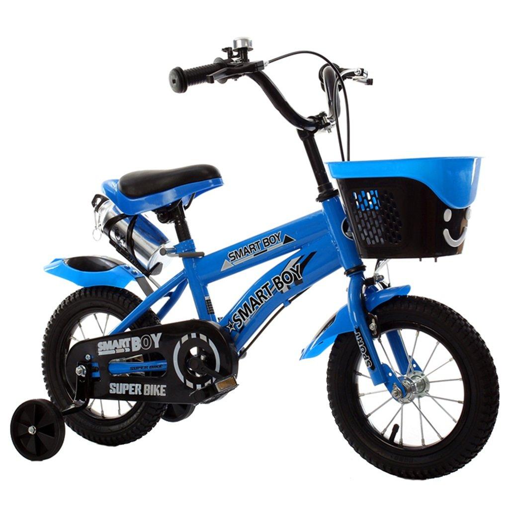 KANGR-子ども用自転車 子供用自転車アウトドアマウンテンバイク2-3-6-8ボーイズとガールズ子供用玩具調節可能ハンドルバー/トレーニングホイール付きサドルウォーターボトルとホルダー-12 / 14/16/18インチ ( 色 : 青 , サイズ さいず : 14 inch ) B07BTZPF6F 14 inch 青 青 14 inch