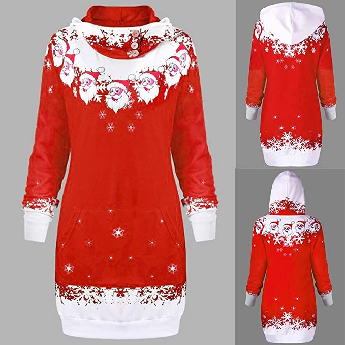Amazon.com: 2018 Latest Hot Style! Teresamoon Womens Christmas Santa Claus Snowflake Print Pocket Caps Tops Sweatshirts: Clothing