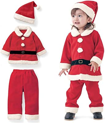 Baby Boys Girls Christmas Santa Claus Costume Pajama Outfit Clothes Set