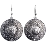Lureme Ethnic Jewelry Antique Round Shaped Pendant Hook Earrings for Women and Girls (02004293-p)