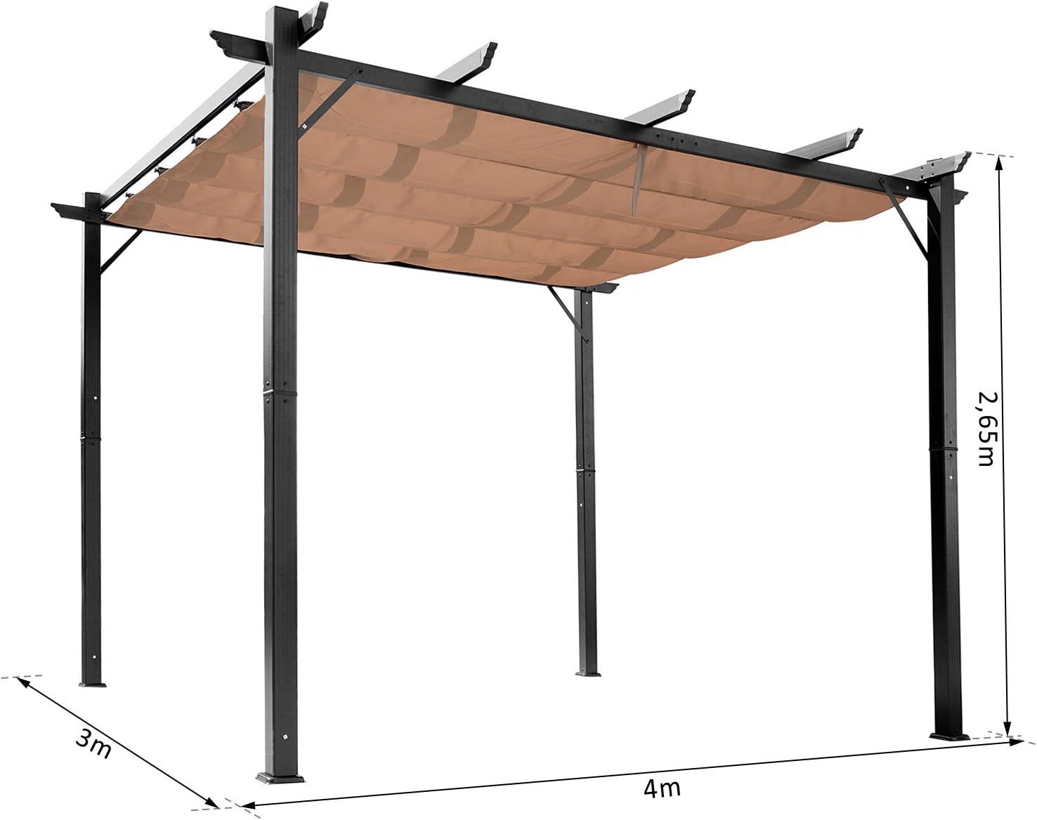 Pergola Aluminio 4L x 3L X 2, 65h M Pergola retráctil estructura ...