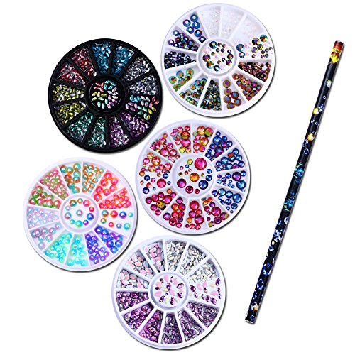 NICOLE DIARY 5 Boxes 3D Nail Art Rhinestones Decoration Holographic Chameleon Marquise Flame Studs in Wheel + 1Pc Wax Pen Rhinestone Studs Picker Nail Art (Crystal Wheel Beads)