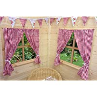 KIDS PLAYHOUSE CURTAINS ~ RED GINGHAM ~ INCLUDES FITTINGS ~ WENDY HOUSE/SUMMER HOUSE