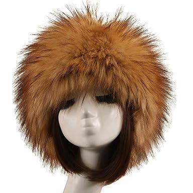 wocharm Ladies and Girls Winter Faux Fur Headband Head Ear Warmer (10   Grass Yellow b1e6e3428b1