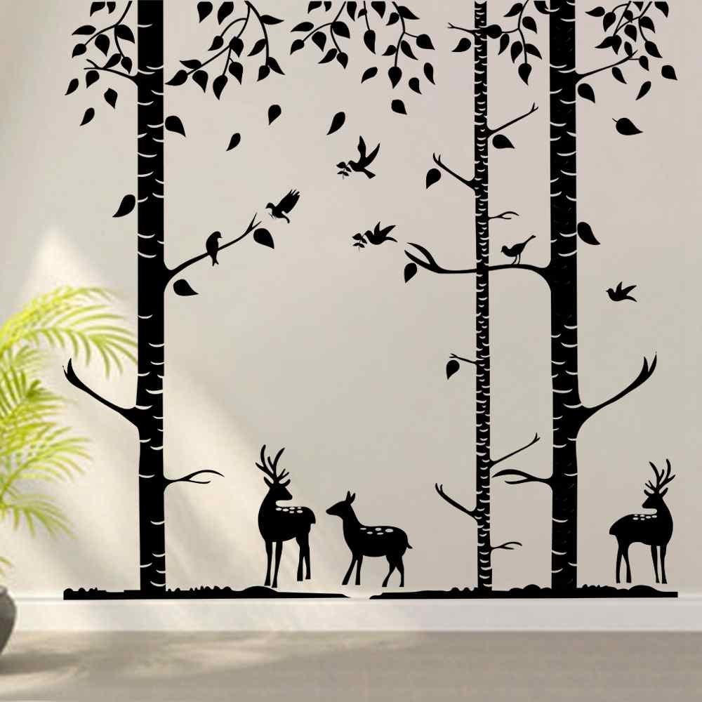 Birch Tree Wall Decals Nursery Decal Vinyl Wall Decal for Bedrooms or Any Room with Birds - Terrific Forest(9 feet, black) by ppty
