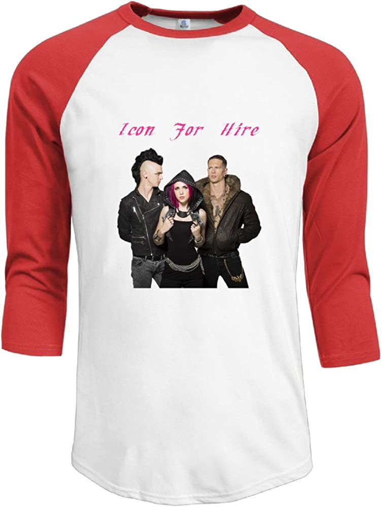 Mens Icon For Hire 100/% Cotton 3//4 Sleeve Athletic Raglan Sleeves T-Shirt