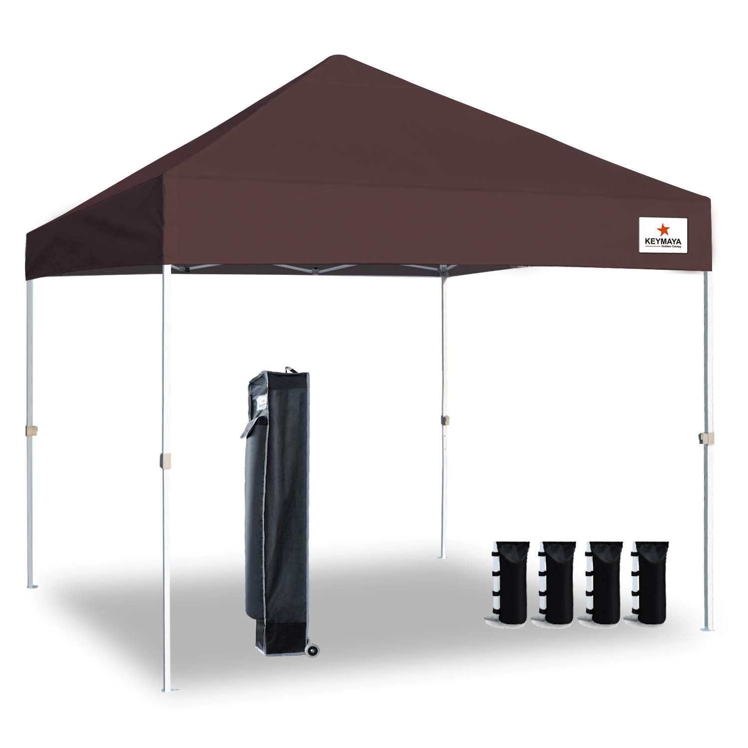 Keymaya 10 X10 Ez Pop Up Canopy Tent Commercial Instant Shelter Canopies Bonus Heavy Duty Weight Bag 4 Pc Pack Brown On Galleon Philippines