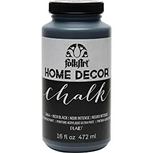 FolkArt 34844 Home Decor Chalk Furniture & Craft Paint in Assorted Colors, 16 Ounce, Rich Black