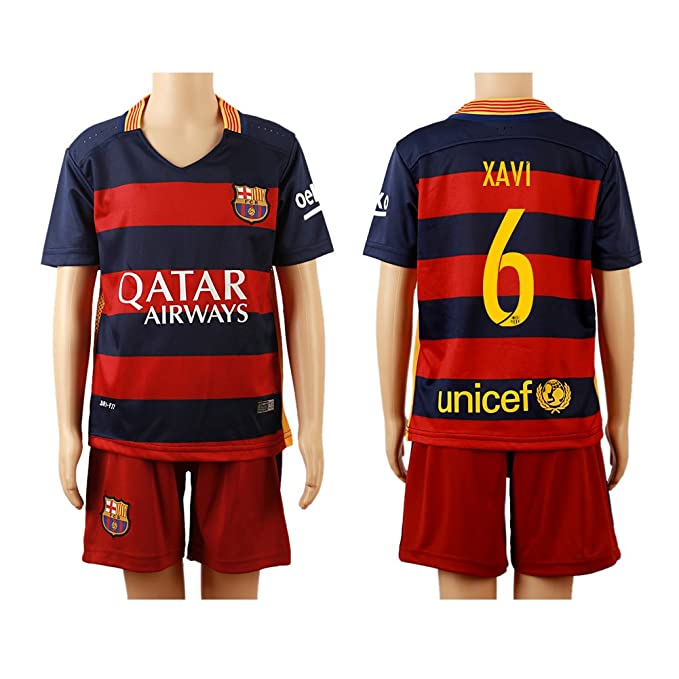 best service 6ad8e c314d 2015/2016 #6 Xavi Blue & Red Home Kids Youth Soccer Jersey ...