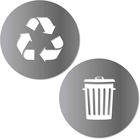 Amazon Com Recycle And Trash Sticker Logo Style 2 5 5in X5 5in Symbol To Organize Trash Cans Or Garbage Containers And Walls Small Silver Metallic Vinyl Decal Sticker Home Kitchen