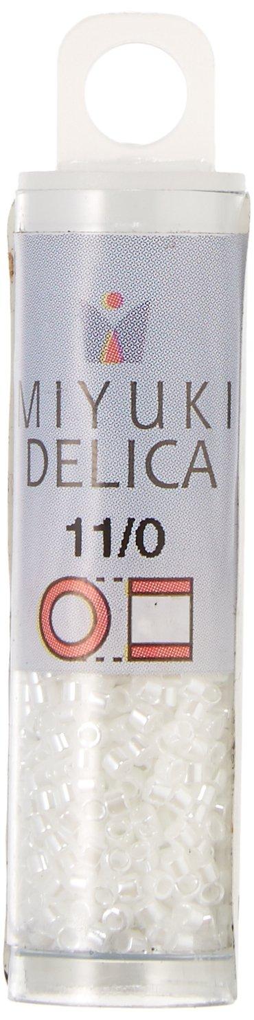 Miyuki DB201 Delica Seed Beads, 7.2g, White Pearl