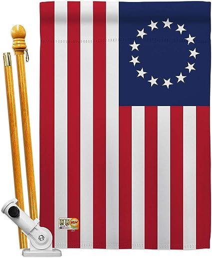 Amazon Com Americana Home Garden Hs140704 Bo Betsy Ross Americana Historic Decorative Vertical House Flag Set 28 X 40 W Flagpole Multi Color Garden Outdoor