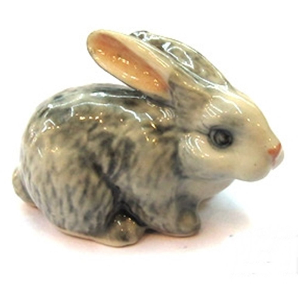 Dollhouse Miniatures Ceramic Grey Rabbit 2 FIGURINE Animals Decor