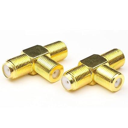 ANHAN F Type Splitter 3 way TV Combiner Splitter female to 2 Female RF Coaxial Coax