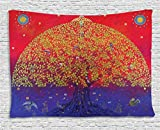 Ambesonne Ethnic Tapestry, Sacred Bodhi Tree of Life Themed Eastern Spiritual Growth Ethnic Artwork Print, Wall Hanging for Bedroom Living Room Dorm, 60 W X 40 L Inches, Scarlet Blue