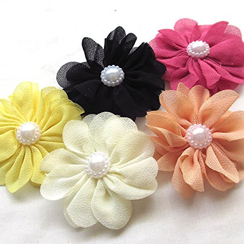 25pcs Fabric Ribbon Flowers Bows Rhinestone Appliques Craft Bulk A445 (Multi-color)
