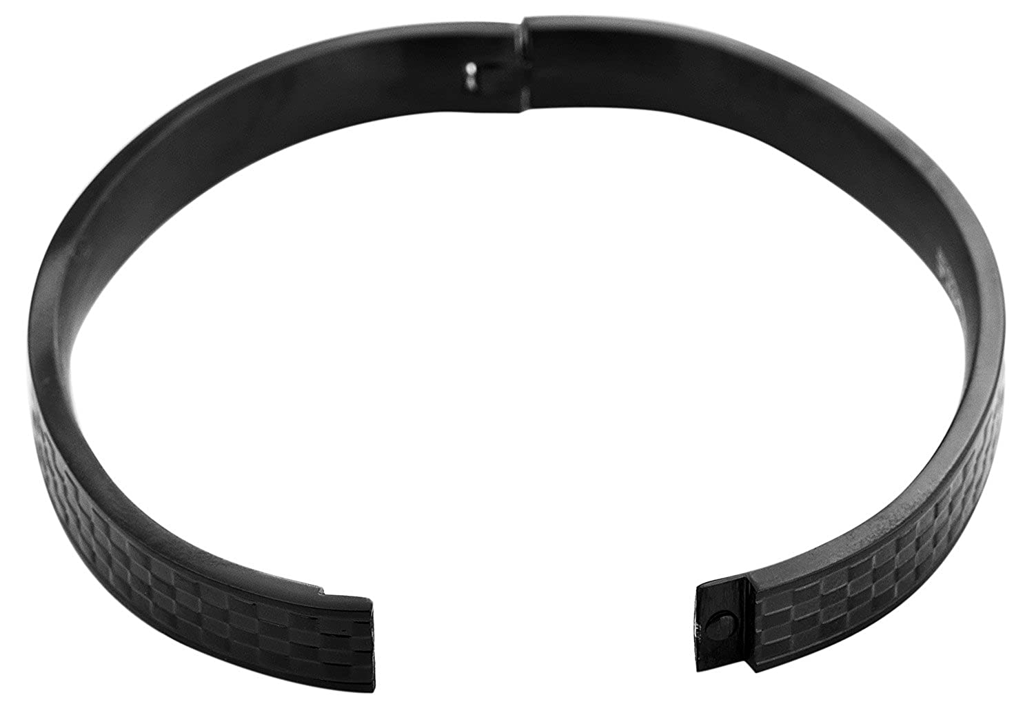 Edforce Blacked Out Stainless Steel Unisex Basket Weeve Pattern Oval Bangle Bracelet with Hidden Clasp, 64mm x 53mm
