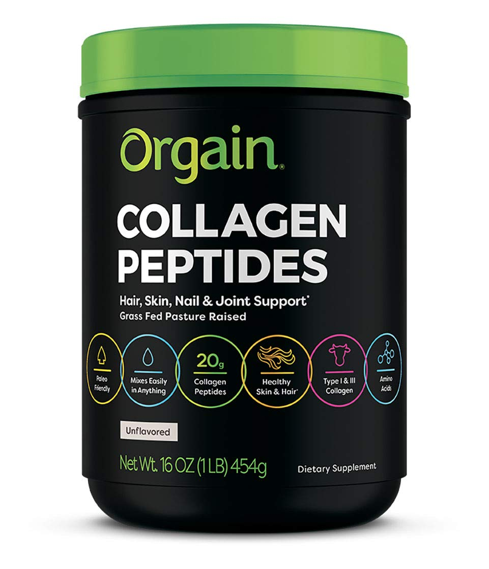 Orgain Grass Fed Hydrolyzed Collagen Peptides Protein Powder - Paleo & Keto Friendly, Pasture Raised, Gluten Free, Dairy Free, Soy Free, Non-GMO, Type I and III, 1 Pound (Packaging May Vary) by Orgain