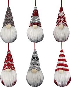 BLOCE Gnome Christmas Plush Ornaments Set, 6Pack Hanging Christmas Tree Decorations Home Decor, Swedish Tomte Elf Scandinavian Santa Gnome Plush Doll for Xmas Gifts