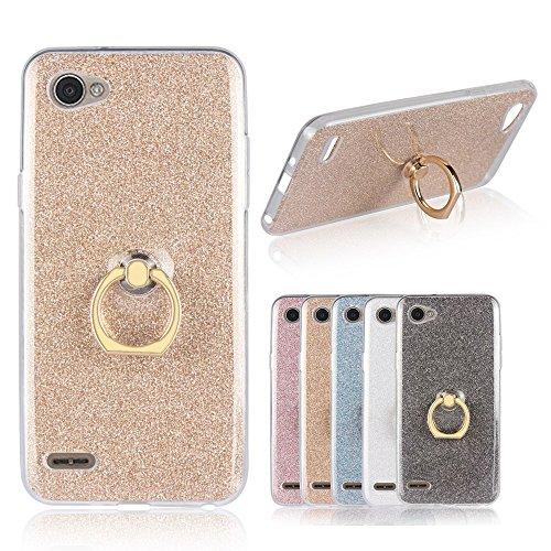 LG Q6 Funda, YINCANG 2 in 1 Glitter Bling Funda de Gel de Silicona Soft TPU con 360 °Grados Soporte Rotating Anti-Gota...