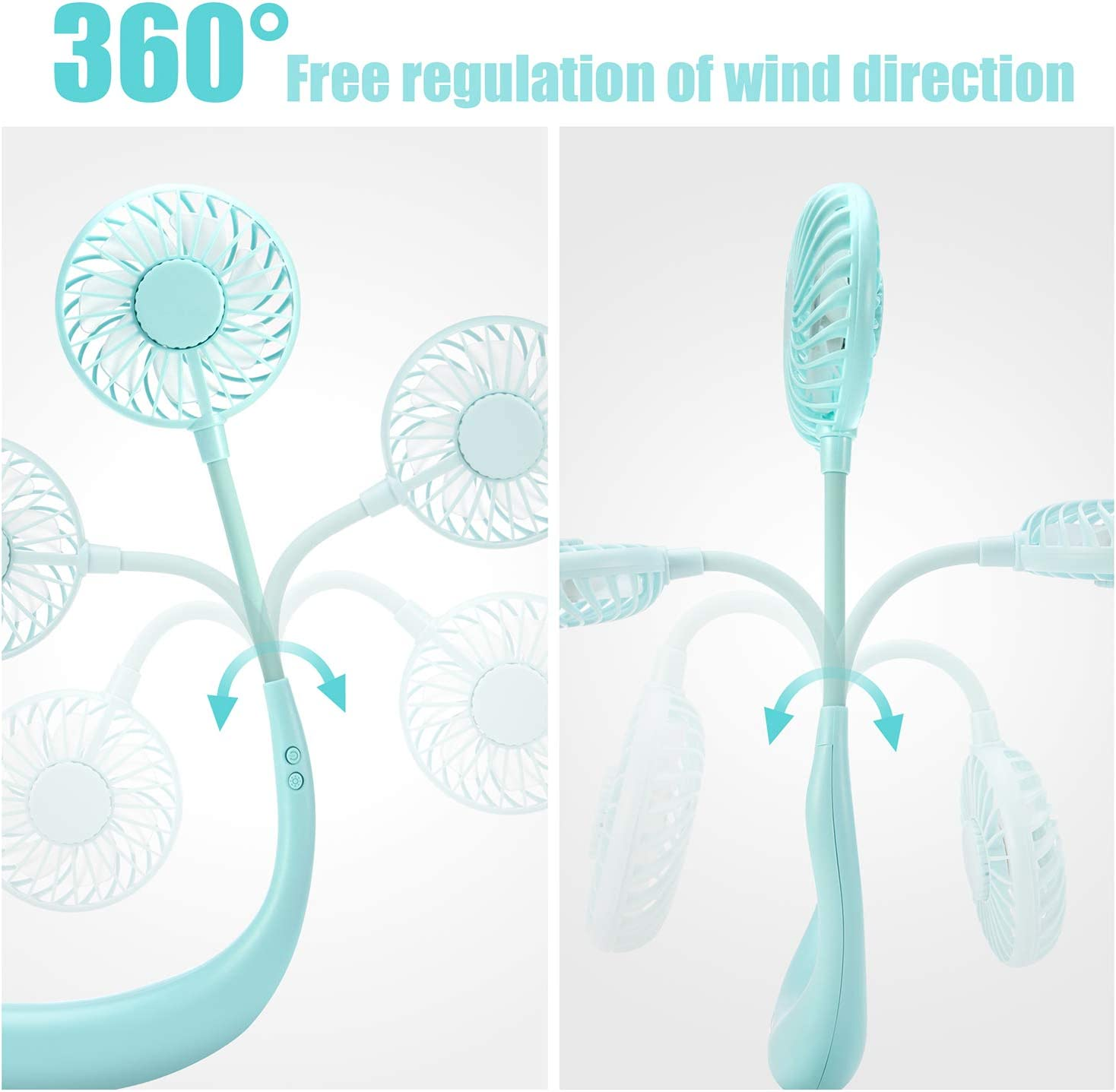 GINEKOO Portable Hanging Neck Fan Hand Free Mini USB Fan with Rechargeable Battery 3 Level Air speeds & 2 Modes LED Light Sport Office 2 Fans With 360/° Free Rotation perfect for Outdoor Travel Black