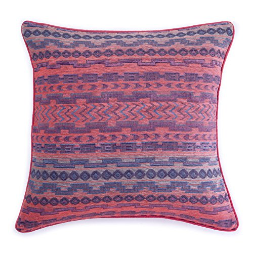Homier Pink Tribal Pillow Cover Throw Cushion Case for Sofa Couch - Gradient Neon Pink/Violet Purple/Sky Blue/Dark Navy/Beige/Brown Woven Pattern with Pink/Coral Accent Piping - 20 x 20 Inches (Navy And Pink Throw Pillows)