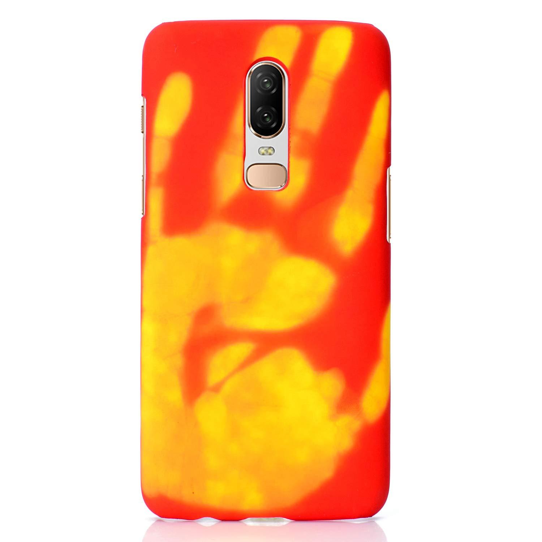 Felfy Okssud Custodia OnePlus 6 Morbido Silicone,Cover OnePlus 6 Blu Handprint Pattern Heat Induction Temperature Change Colore TPU Case