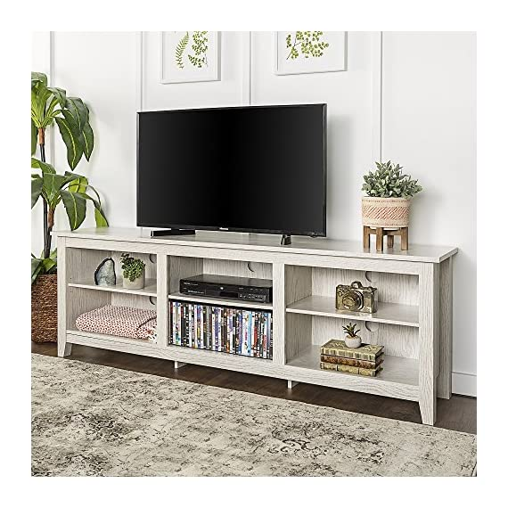 "New 70 Inch Wide Television Stand in White Wash Finish - Item ships within 1 business day! Any order that is received before 12:00 noon MST will ship out same business day!! OVERALL DIMENSIONS - (Left to Right) 70"" L x (Front to Back) 16"" W x 23 1/2"" H SHELF DIMENSIONS - Side Shelves - (Left to Right) 20 3/8"" L x (Front to Back) 14 1/8"" D, Middle Shelves - (Left to Right) 19 5/8"" L x (Front to Back) 14 1/8"" D, Adjustable Shelving - tv-stands, living-room-furniture, living-room - 61MNeVpKtDL. SS570  -"