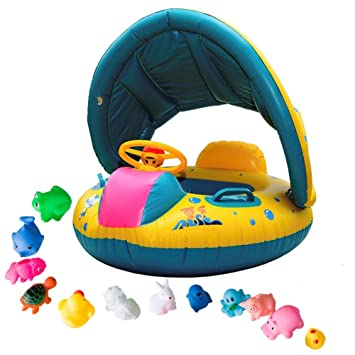 iGoods Safe Baby Pool Floats Floaties with Sun Canopy Inflatable Infant Toddler Kids Child Swim  sc 1 st  Amazon.com & Amazon.com: iGoods Safe Baby Pool Floats Floaties with Sun Canopy ...