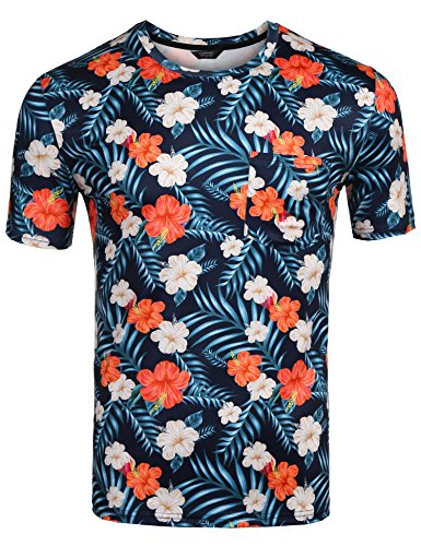 COOFANDY Mens Hipster Hip Hop T-Shirts Hawaiian Floral Print Crewneck Tee Shirt