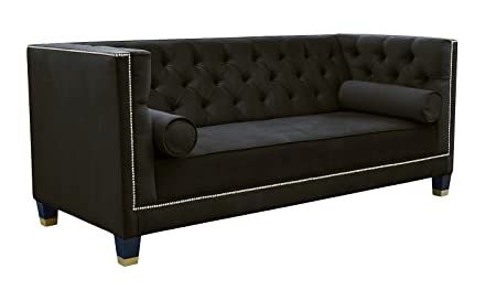 Belle Fierté Negro Elegante 2 plazas Chesterfield sofá de ...