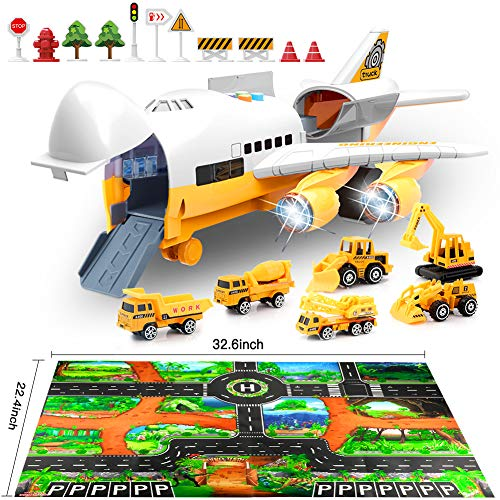 Car Toys Set with Transport Cargo Airplane and Large Play Mat, Educational Vehicle Construction Car Set for Kids Toddler…